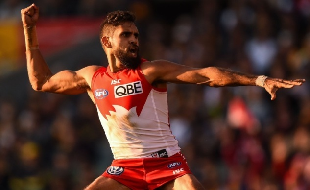 PERTH, AUSTRALIA - JULY 26: Lewis Jetta of the Sydney Swans celebrates his goal with an Indigenous Dance during the 2015 AFL round 17 match between the West Coast Eagles and the Sydney Swans at Domain Stadium, Perth, Australia on July 26, 2015. (Photo by Daniel Carson/AFL Media/Getty Images)